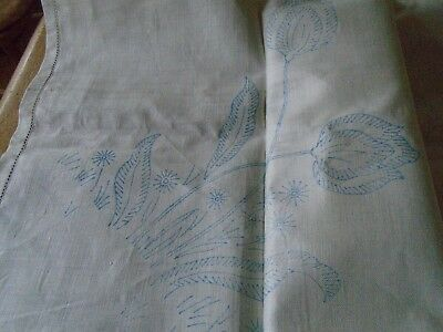 Stamped Embroidery Irish Linen Tablecloth For Embroidering - Tulip Pattern