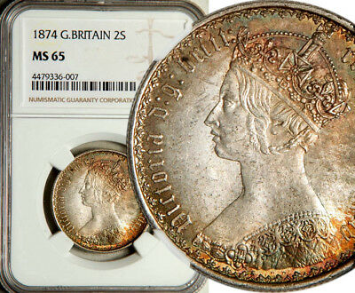 Ngc Ms-65 Great Britain Silver Gothic Florin 2 Shillings 1874 (Highest Grade!)