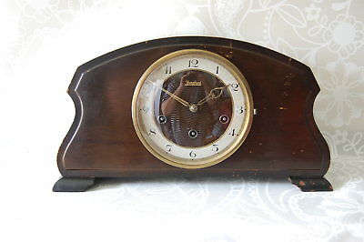 Antique 1920's Junghan W200 Working Deco Mahogany Mantel Shelf Clock with key