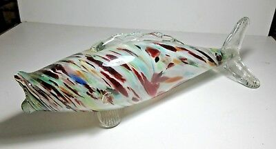 Large Murano Style Fish End Of Day Retro Salmon Shape