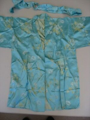 Childs Vintage Kimono Robe Blue With Belt
