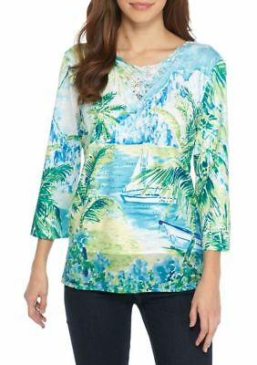 $58 Alfred Dunner Turks & Caicos Scenic 3/4-Sleeve Top   Size Xl Nwt