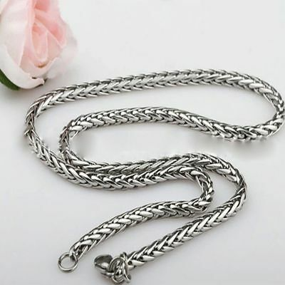 Twist Mens Womens Tone Chain 18-36inch Steel Braided Necklace Stainless Silver