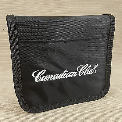 Canadian Club Whiskey Black Nylon CD DVD Case Holds 10 Discs Embroidered New