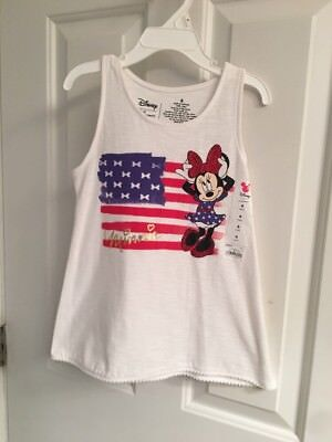 NWT-Girls Disney Minnie Mouse Graphic Raceback Tank Top-Size 6