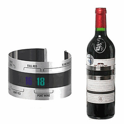 (4--24'C) Stainless Steel Red Wine Bracelet Temperature Thermometer Sticker Tool