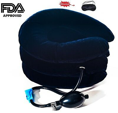 Cervical Neck Traction Device, Pillow, Collar, Inflatable, Neck Pain Relief, FDA