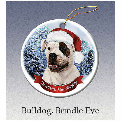 American Bulldog Brindle Eye Howliday Porcelain China Dog Christmas Ornament