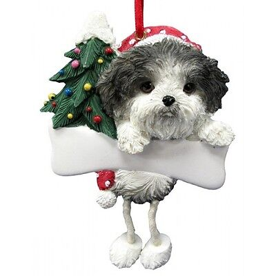 Shih Tzu Black Puppy Dangling Wobbly Leg Dog Bone Christmas Ornament
