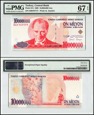Turkey 10 Million Lira, 1999, P-214, Mustafa K. Atarurk, Star, Compass, PMG 67