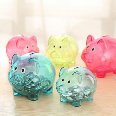 Cute Plastic Pig Clear Piggy Bank Coin Box Moneys Cash Saving Case Baby Kids Toy