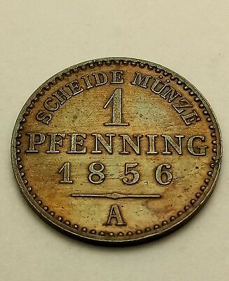 Germany German States - Prussia - 1856A - 1 Pfenning - AU  Copper Coin