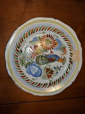 Henriot Quimper Bird Flower Decor Diner Plate