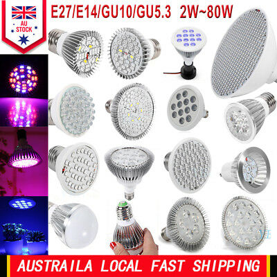 Full Spectrum 2W-80W E27 E14 GU10 LED Grow Light Plant Flower Hydroponic Bulb