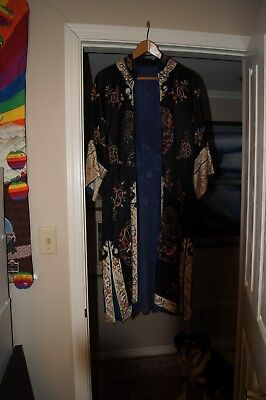 Antique Vintage Black Chinese Silk Intricately Designed Embroidery Robe