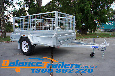 7x4 HOT DIP GALVANISED FULL WELDED TIPPER BOX TRAILER WITH 600MM REMOVABLE CAGE
