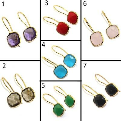 Drop & Dangle Cushion Gemstone Gold Plated Hook Earring Rare Gemstone Jewelry