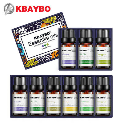 KBAYBO essential oils for aromatherapy diffusers	lavender tea tree lemongrass