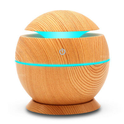 KBAYBO USB Aroma Humidifier Aromatherapy Wood Grain 7 Color LED Lights Electric