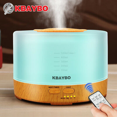 KBAYBO 500ml Ultrasonic Air Humidifier led light wood grain Essential Oil