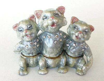 Three Singing CATS Decorative Bejeweled Enamel Trinket Jewelry Box New