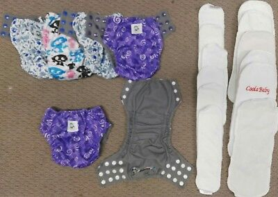 6x CoolaBaby BULK MCN Baby Cloth Nappy pre loved mix with inserts & boosters