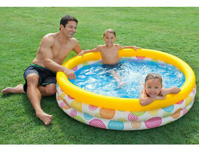 Cool Dots 3-Ring Kids Paddling Pool 1.47m x 33cm from Intex Inflatables