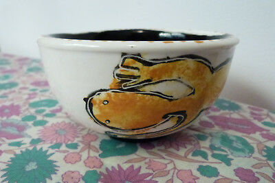"Vintage Australian Pottery Bowl Hand Painted Lizard Theme - Marked ""Aboriginal"""