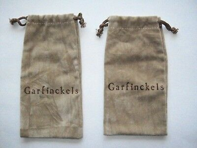 2 Vintage GARFINCKELS Defunct STORE Suede-Like Draw-String BAGS POUCHES - Mint