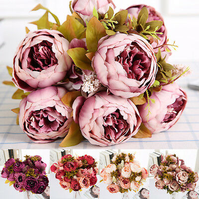 13 Heads Silk Peony Artificial Flowers Peony Wedding Bouquet Home Party Décor