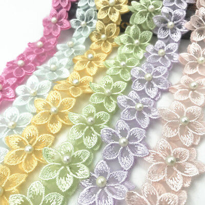 2 Yards flowers pearl Lace Wedding dress clothing decoration Trim accesories