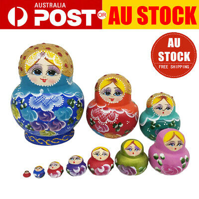 10 x Cute Nesting Dolls Big Belly Girl Colorful Russian Stacking Dolls Toy Gift