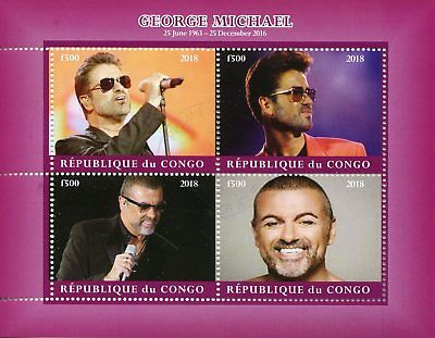 Congo 2018 CTO George Michael 4v M/S I Celebrities Popstars Music Stamps