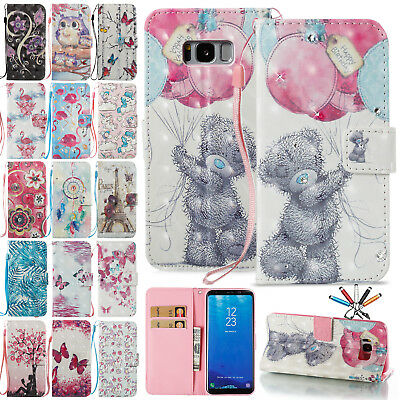 Cute Painted Bling Leather Wallet Card Strap Case Cover For Samsung J3 2017/S8+