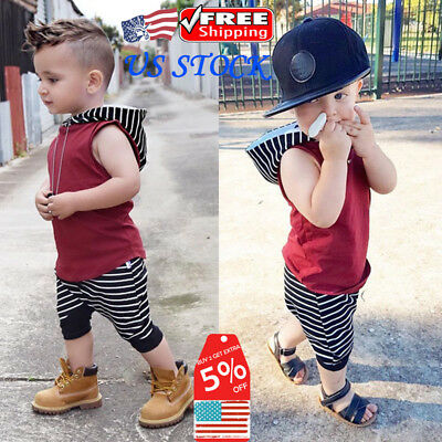 Toddler Baby Cool Boys Summer Sleeveless Outfits Hooded Tops Shirt Pants Bottoms