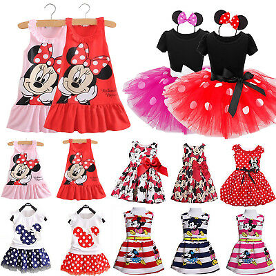 Kids Baby Girl Minnie Mouse Party Mini Dress Summer Princess Skirt Sundress 0-7Y