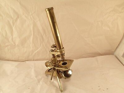 Antique R. J. HOPGOOD & Co., LONDON 1900's Brass Monocular Compound Microscope