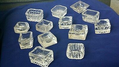 Lot 13 Vintage clear glass open Salt dishes cellars Cut Glass Square Rectangle