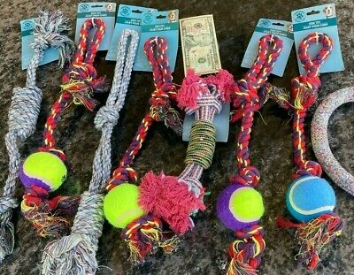 6 PACK Rope Dog Toys Dog Toy for Aggressive Chewers Ball Tough Bone Pull Lot