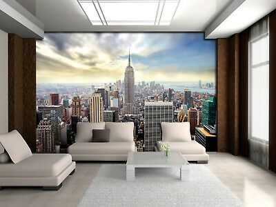 Wall Mural Photo Wallpaper kids room New York City skyline blue and grey feature