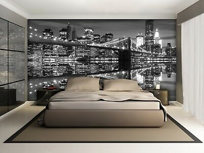 Wall Mural Photo Wallpaper kids room New York City skyline black & white feature