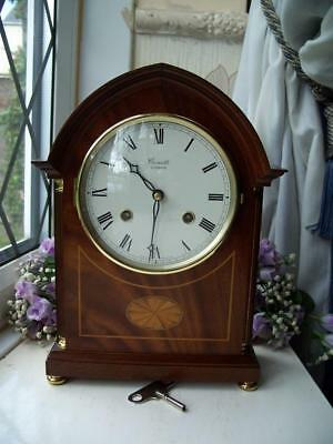 Beautiful Inlaid Mahogany Comitti Of London Chiming 8 Day Lancet Mantle Clock