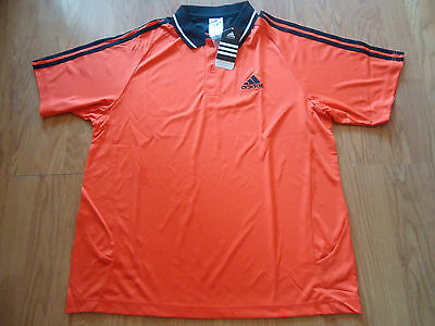 Adidas Orange/black Sports Polo Shirt Sizes Medium &  Large Bnwt Rrp £19.99