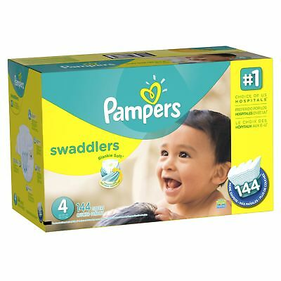 Pampers Swaddlers Disposable Baby Diapers Size 4, Economy Pack Plus, 144 Coun...