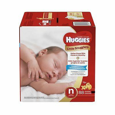 HUGGIES LITTLE SNUGGLERS, New Born, Baby Diapers, 88ct Size-N, 88-Count