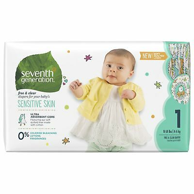 Seventh Generation Free and Clear, Unbleached Baby Diapers, Size 1, 40ct (Pac...