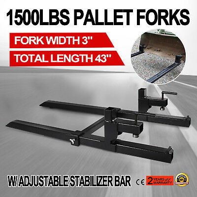 Clamp on Pallet Forks w/ Stabilizer Bar 1500lb Adjustable Heavy duty Skidsteer