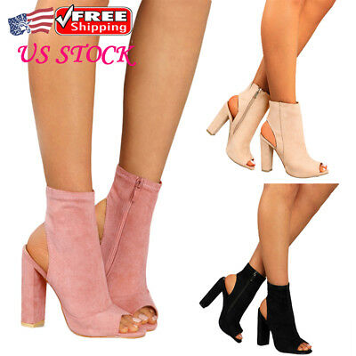 cb1b108fb43a NEW US WOMENS Block High Heel Sandals Peep Toes Ankle Boots Zipper Up Shoes  Size - $28.49 | PicClick