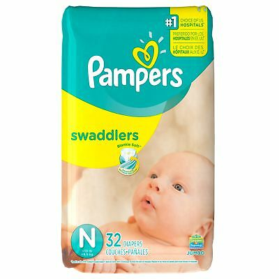 Pampers Swaddlers Disposable Baby Diapers Size N (< 4.5 kg), 32 Count