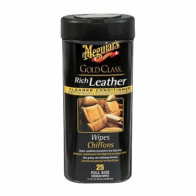 Meguiar's G10900C Gold Class Rich Leather Cleaner and Conditioner Wipes (25-W...